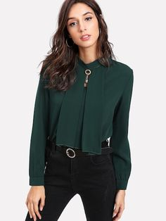 Shop Pearl Detail Button Keyhole Back Blouse online. SHEIN offers Pearl Detail Button Keyhole Back Blouse & more to fit your fashionable needs. Romwe, Plain Tops, Fall Shirts, Woman Standing, Green Blouse, Collar Blouse, Work Blouse, Blouse Outfit, Blouse Online
