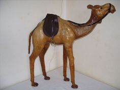 A beautiful large (69 cm high) leather camel, France, second half of 20th century