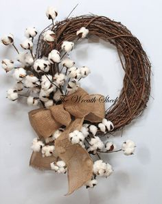 Primitive Cotton Wreath, Cotton Boll Wreath, Natural Cotton Bolls, 2nd Anniversary Gift, Southern Decor, Burlap Bow, Country Primitive Decor
