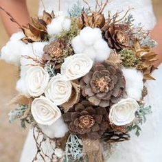 winter wedding with pine cones