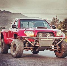 Beast on Wheels, Toyota Tacoma with long travel suspension Toyota Trucks, 4x4 Trucks, Custom Trucks, Cool Trucks, Cool Cars, Custom Cars, Tacoma Truck, Jeep Truck, Lifted Tacoma