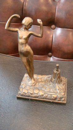 Vintage Nude Art Deco Art Nouveau Brone Striker Lighter 30's