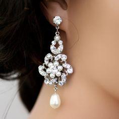 Wedding Jewlery, Bridal Earrings, Pearl and Rhinestone Wedding Earrings, Swarovski Crystal Chandelier Earrings CLASSIC SABINE. $85.00 USD, via Etsy.  LuluSplendor