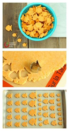 Homemade Goldfish Crackers.  Cheesy and delicious with homemade whole grain goodness.  http://www.superhealthykids.com