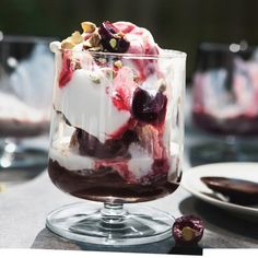 pistachio gelato with espresso fudge and amaretto cherry sauce - yes please