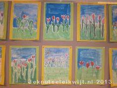 Bloemen van vetkrijt en waterverf