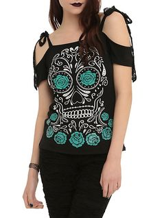 Sugar Skull Lace Tie Girls Top | Hot Topic