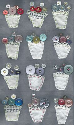 5 Fabric Scrap Projects to Shrink Your Stash - Cloth Paper Scissors - vintage button bouquet vases You are in the right place about arts and crafts Here we offer you the - Button Bouquet, Button Flowers, Crafts To Sell, Easy Crafts, Crafts For Kids, Scrap Fabric Projects, Fabric Scraps, Button Art, Button Crafts