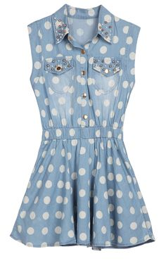 Blue Sleeveless Polka Dot Bead Denim Dress-OMG how cute!