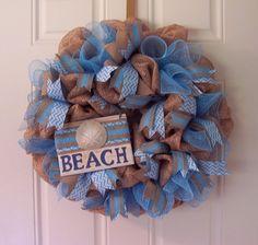 Beach Cottage Wreath Sand Dollar Coastal Door Decor Nautical Deco Mesh Bath Wall in Home & Garden, Home Décor, Door Décor | eBay