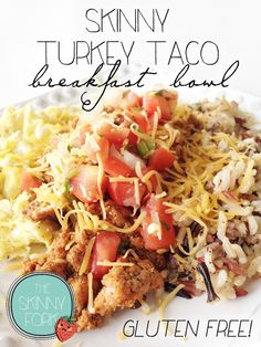 Skinny Turkey Taco Breakfast Bowl — Packed with 32 grams of protein, a ton of flavor, and under 300 calories. Now that's my kind of breakfast!