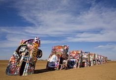Cadillac Ranch Amarillo, Texas America's answer to Stonehenge is a line of 10 Cadillacs, circa 1949 to 1963, planted nose-first in a field alongside Interstate 40 at the same angle as the Great Pyramid at Giza. An artists' collective called the Ant Farm created Cadillac Ranch in 1974. Is it art? No matter — it's a hoot