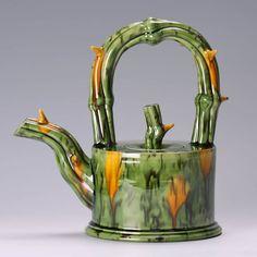 Green cylindrical thorn teapot    by Walter Keeler - salt glaze & earthenware