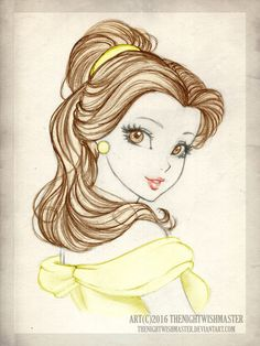 Daily Sketch Challenge 32 by theNightwishmaster on DeviantArt Easy Disney Drawings, Disney Princess Drawings, Disney Sketches, Disney Kunst, Arte Disney, Disney Fan Art, Disney Belle, Disney Tattoos, Drawing Sketches