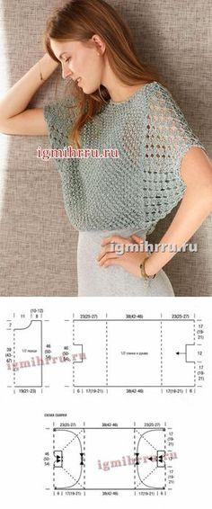 El pulóver fácil gris-verde con las mangas \'el murciélago\'. La labor de punto por los rayos