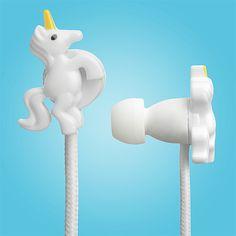 Fones de ouvido com design de unicórnio. #unicon #unicorns #unicornios