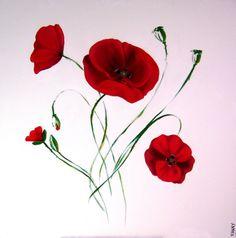 Poppies fleurs, coquelicot, coquelicots, rouge Dessin à la main / Peinture