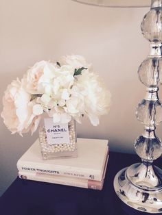 home accents bathroom CHANEL No glass vase, CHANEL, peonies, roses, shabby chic Room Ideas Bedroom, Bedroom Themes, Bedroom Decor, Chanel No 5, Chanel Inspired Room, Rosa Shabby Chic, Chanel Bedroom, Chanel Decor, Home Decoracion