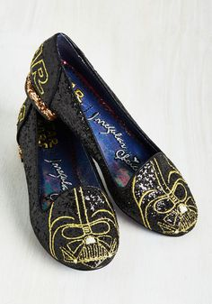 Thank the Maker Flat in Darth Vader. Pilot a posh ensemble starting with these black Darth Vader flats by Irregular Choice! #black #modcloth