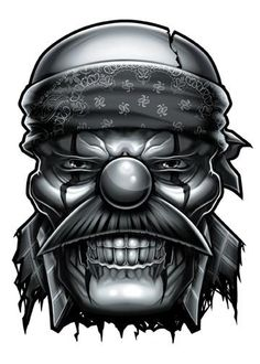 OG Clown Temporary Tattoo - Negro y Gris Black and Grey Tattoos