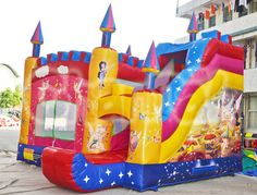 Wanna become a fairy in Tinker Bell Neverland, then jump on this inflatable combo and you'll become one. Bouncy Castle, Tarpaulin, Tinker Bell, Panel Art, Neverland, 1 Piece, Fairies, Things That Bounce, Birthday Parties