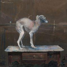 Windhondje op tafeltje II (Greyhound on Table II) by Pieter Pander