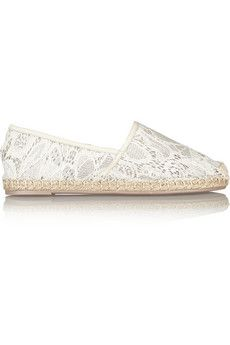 Valentino Lace and leather espadrilles | NET-A-PORTER