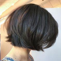 Straight Cut Bob with Layers Asymmetrical Bob Haircuts, Choppy Bob Hairstyles, Short Hairstyles For Thick Hair, Haircut For Thick Hair, Short Hair Cuts, Curly Hair Styles, Pixie Cuts, Short Pixie, Easy Hairstyles