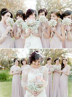 vintage style blush pink bridesmaid dresses  http://www.weddingchicks.com/2013/09/30/vintage-pink-and-white-wedding/