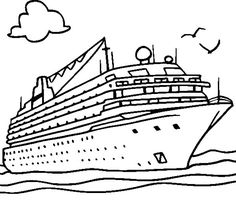 Cruise with Enormous Ship on Sunny Day Coloring Pages