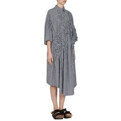 Simone Rocha Gingham Floral Shirt Dress (2.355 BRL) ❤ liked on Polyvore featuring dresses, floral printed dress, blue shirt dress, smock dress, blue gingham dress and blue dress