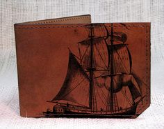 wallet  leather wallet  men wallet  Pirate ship by backerton, $37.00