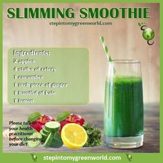 ☛ A super slimming smoothie. Not only will it help you detox, it will help lose weight the healthy way. #juicingrecipes