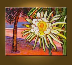 Night Blooming Cereus -- 22 x 28 inch Original Oil Painting -- READY TO HANG. $275.00, via Etsy.