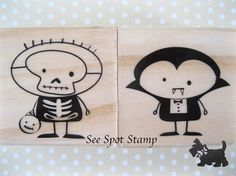 Halloween Stamp Skeleton and Vampire Rubber Stamp kids cute ghouls quirky fun 2 rubber stamps w3 m. $4.95, via Etsy.