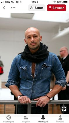 All Mighty Denim is part of Bald men style - A Salute To Denim & Chambray Perfection Blazer Fashion, Mens Fashion, Stylish Men, Men Casual, Bald Men Style, Herren Style, Outfits Hombre, Masculine Style, Sartorialist