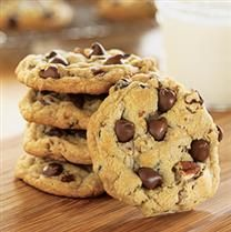Crisco's Ultimate Chocolate Chip Cookie Recipe is the absolute BEST Recipe!  Just don't over cook...the cookies will harden a bit after cooling.  I cook mine for about 10-13 minutes and that works great everytime.  I also use a Tablespoon or a small cookie scooper to measure the right size.