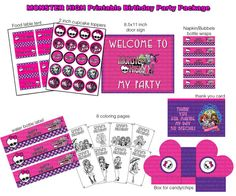 INSTANT DL- Monster High Birthday Party Package - Printable set (NON Personalized)