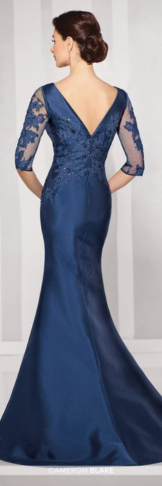 Formal Evening Gowns by Mon Cheri - Fall 2016 - Style No. 216678 - navy blue evening gown with illusion and lace sleeves