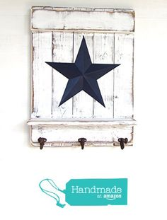 Star Shelf with Hooks; White Distressed Wood & Blue Barn Star - Rustic, Country, Primitive, Vintage, Farmhouse Antique Wall Decor from Apple Farm Creations https://www.amazon.com/dp/B01APZKFMC/ref=hnd_sw_r_pi_dp_bTvPxbQX09GNK #handmadeatamazon