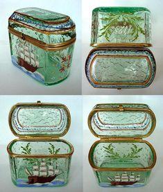Antique Bohemian Enamel & Glass Jewelry Casket Box Sailing Ship Painting #jewelrybox