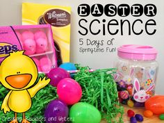 Easter Science Fun:  Have holiday-themed fun with these six hands-on science investigations using Peeps™, chocolate bunnies, jellybeans, and plastic eggs.  The kids love them!  (Creating Readers and Writers Blog)