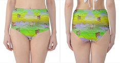 Cows And Clouds In The Green Fields High Waist Bikini Bottoms High-Waist Bikini Bottoms
