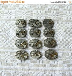 20% Off Sale 12 pcs Assorted Watch Movements, Small Watch Movements, Steampunk Supplies, Watch Movements for Parts, Antique Watch Parts
