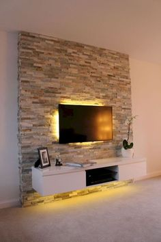 ▷ 1001 + Ideen für Fernsehwand Gestaltungen - Ideen und Tipps tv wall panel stone effects on the wall seinwand stones behind the television subtle led lighting in yellow color shelf under the televisi Feature Wall Living Room, Living Room Decor, Living Room Tv, Living Room Wall, Cool Rooms, Glass Mosaic Tile Backsplash, Living Room Tv Wall, Living Room Entertainment Center, Living Room Designs