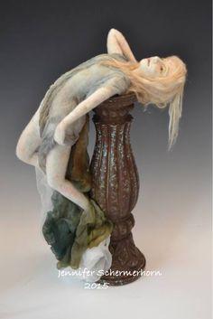 Waterfall- needle felted wool on wire armature.  Wool sculpture. art doll. Jennifer Schermerhorn, 2015.