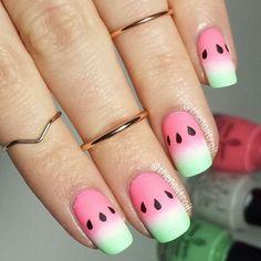Ombre watermelon nails
