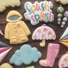 Cute Cookies, Iced Cookies, Summer Cookies, You Are Cute, Splish Splash, Cookie Designs, Edible Art, Creative Cakes, Cookie Decorating