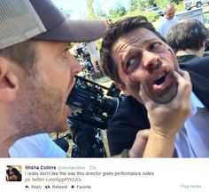 If this is the way #jensenackles gives directors' notes on set....he can grab me like that or anyway anytime! #supernatural #mishacollins