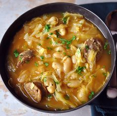 Cabbage, Italian White Bean & Italian Sausage Soup — Stick. To. Your. Ribs.